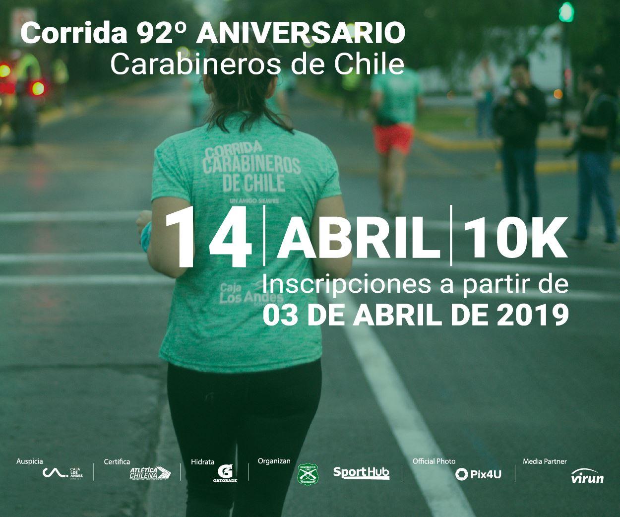 Mañana comienzan las inscripciones para la Corrida 92° Aniversario Carabineros 2019